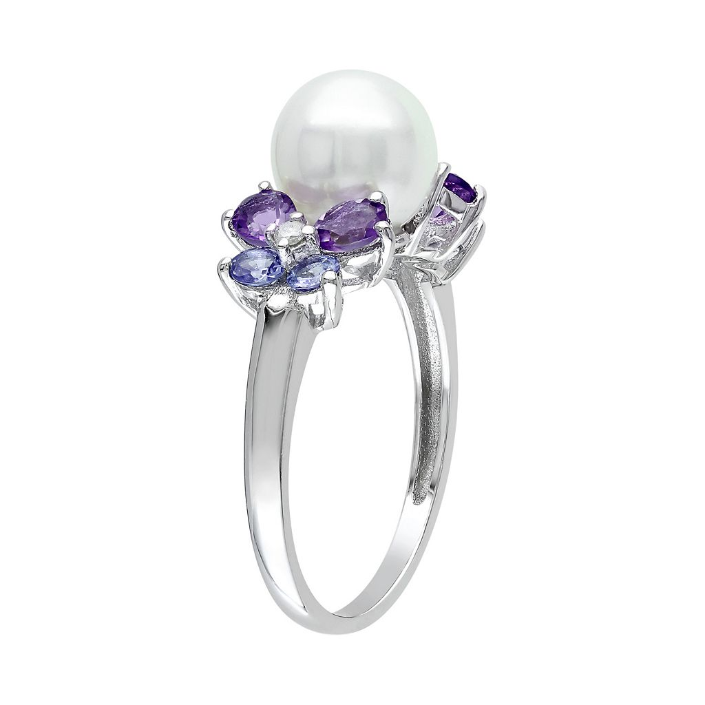 Freshwater Cultured Pearl, Tanzanite, Amethyst and Diamond Accent Sterling Silver Ring