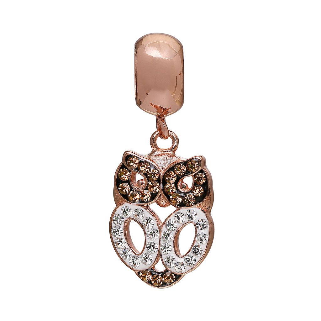 Individuality Beads Crystal 14k Rose Gold Over Silver Owl Charm