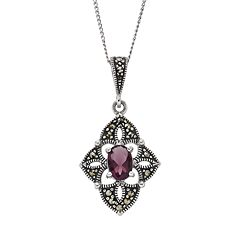 Tori Hill Amethyst & Marcasite Sterling Silver Kite Pendant Necklace