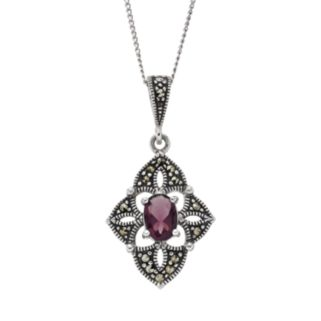Tori Hill Amethyst and Marcasite Sterling Silver Kite Pendant Necklace
