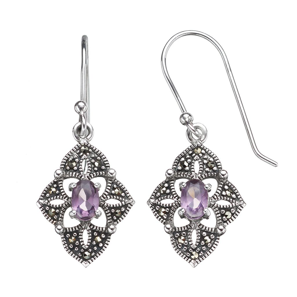 Tori Hill Amethyst & Marcasite Sterling Silver Kite Drop Earrings