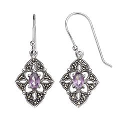 ca0bac768 Tori Hill Amethyst & Marcasite Sterling Silver Kite Drop Earrings