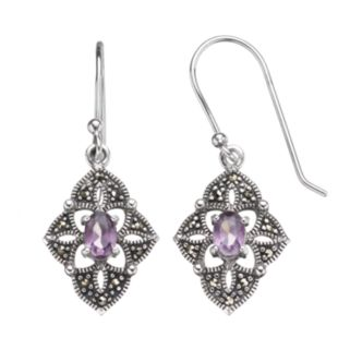 Tori Hill Amethyst and Marcasite Sterling Silver Kite Drop Earrings