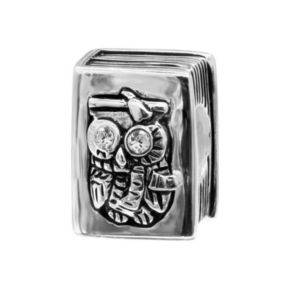 Individuality Beads Crystal Sterling Silver Owl Book Bead