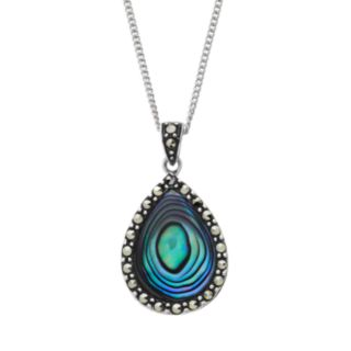 Tori Hill Abalone and Marcasite Sterling Silver Teardrop Pendant Necklace
