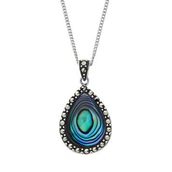 Tori Hill Abalone & Marcasite Sterling Silver Teardrop Pendant Necklace