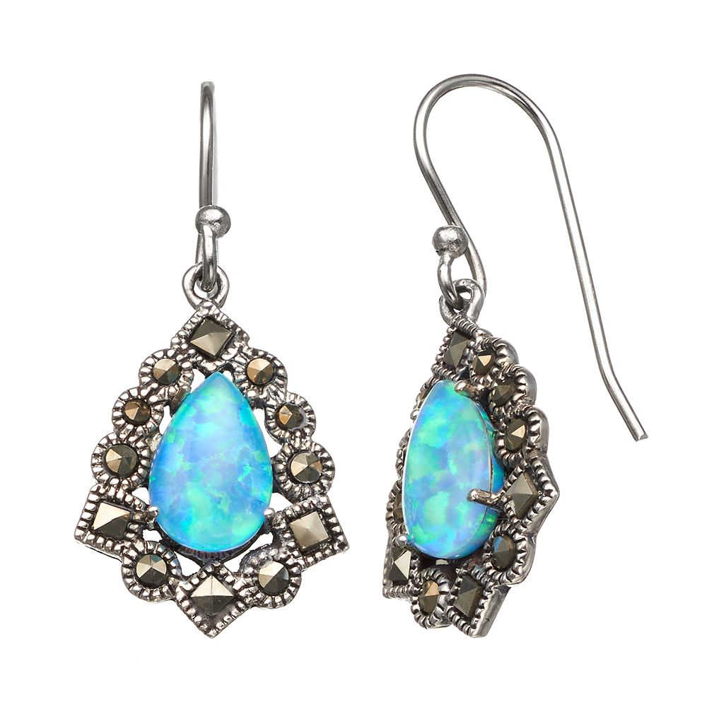 Tori Hill Simulated Blue Opal & Marcasite Sterling Silver Frame Teardrop Earrings