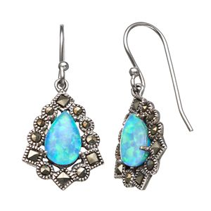Tori Hill Simulated Blue Opal and Marcasite Sterling Silver Frame Teardrop Earrings