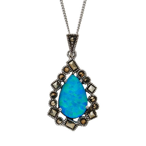 Tori Hill Simulated Blue Opal & Marcasite Sterling Silver Frame Teardrop Pendant Necklace