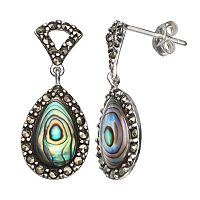 Tori Hill Abalone & Marcasite Sterling Silver Teardrop Earrings