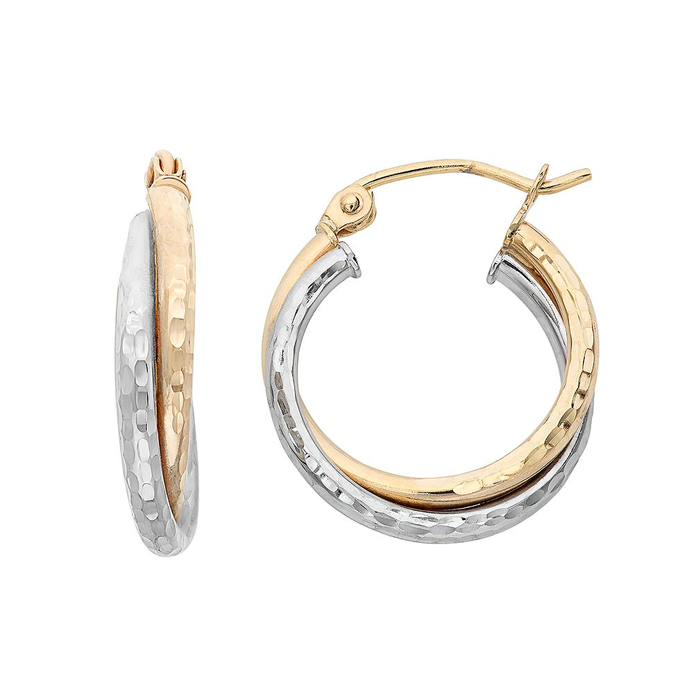 14k Gold Two Tone Hammered Double Hoop Earrings