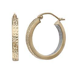 14k Gold Two Tone Textured Hoop Earrings