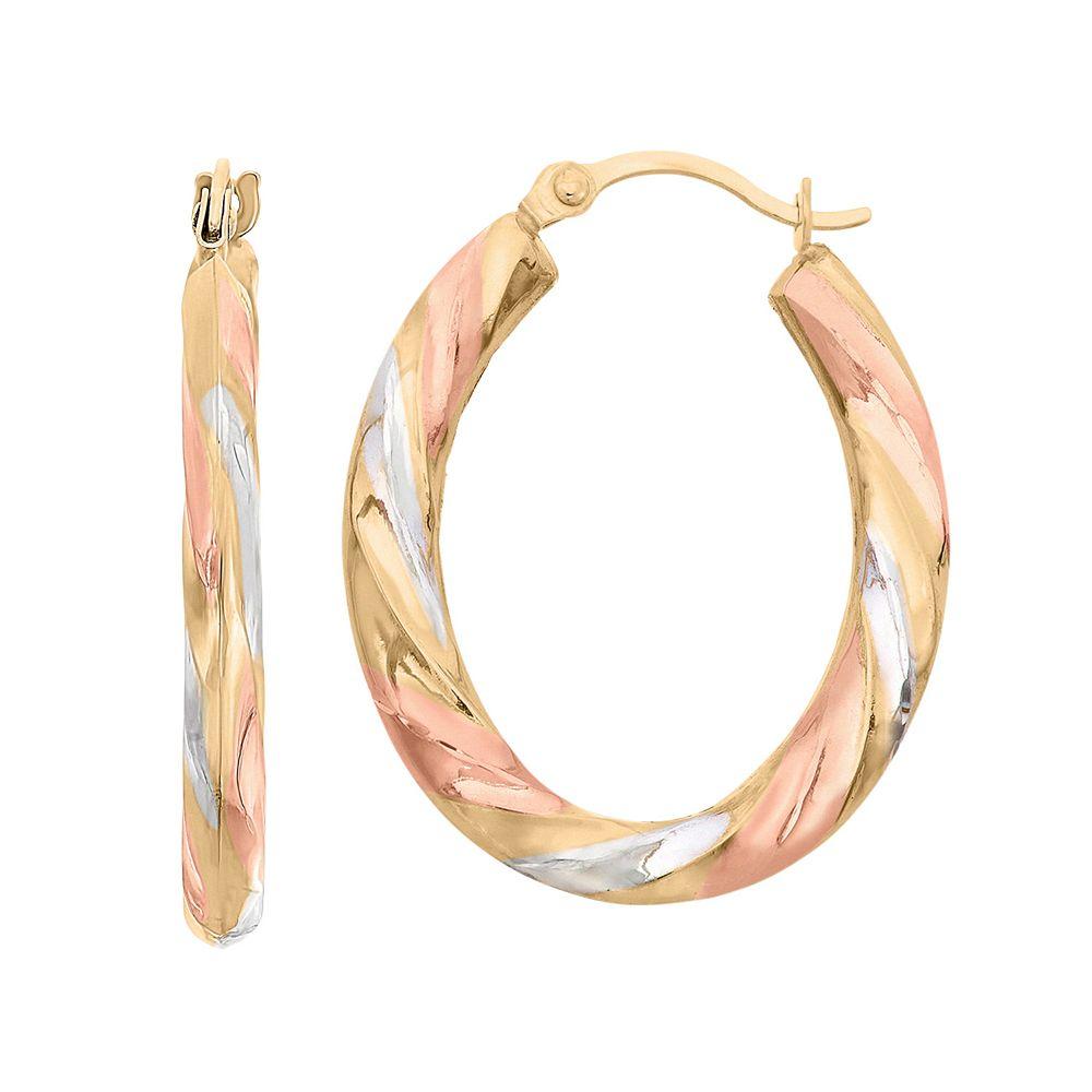 14k Gold Tri-Tone Twist Oval Hoop Earrings
