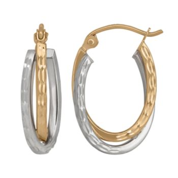14k Gold Two Tone Textured Oval Double Hoop Earrings