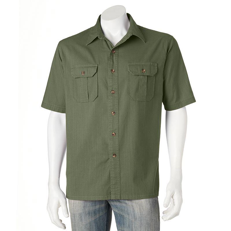 Croft Barrow Solid Poplin Casual Button Down Shirt Men