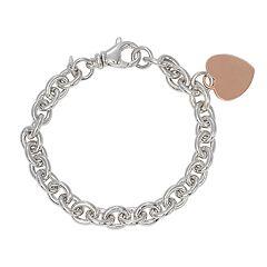 14k Rose Gold Over Silver & Sterling Silver Heart Charm Bracelet