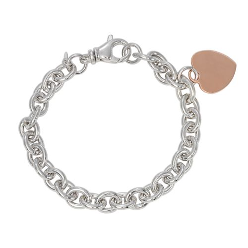14k Rose Gold Over Silver and Sterling Silver Heart Charm Bracelet