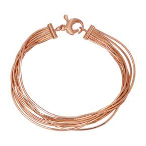 14k Gold Over Silver Multistrand Snake Chain Bracelet