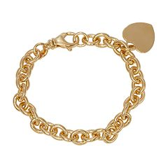 14k Gold Over Silver Heart Charm Bracelet