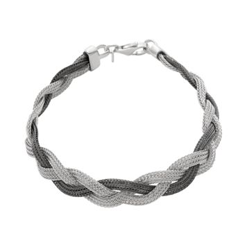 Sterling Silver Two Tone Mesh Braided Bracelet