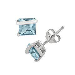 Blue Topaz Sterling Silver Stud Earrings