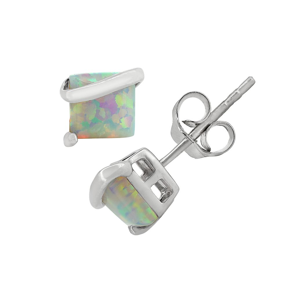 Lab-Created Opal Sterling Silver Stud Earrings