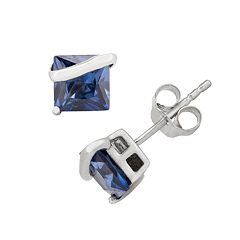 Lab-Created Sapphire Sterling Silver Stud Earrings