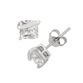 Lab-Created White Sapphire Sterling Silver Stud Earrings