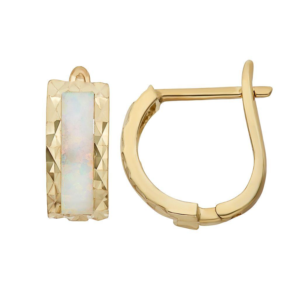 Lab-Created Opal 14k Gold Over Silver Textured U-Hoop Earrings