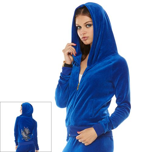 Juicy Couture Pleated Velour Hoodie - Women's