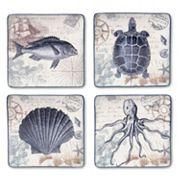 Certified International Coastal Postcards 4 pc Square Dinner Plate Set