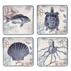 Certified International Coastal Postcards 4 pc Square Dinner Plate Set