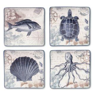 Certified International Coastal Postcards 4-pc. Square Dinner Plate Set