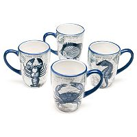 Certified International Coastal Postcards 4 pc Mug Set