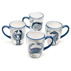 Certified International Coastal Postcards 4-pc. Mug Set