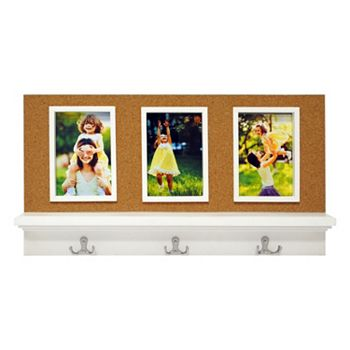 New View 3 Opening Corkboard Portrait Frame With Coat Hooks