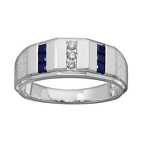 Lab-Created Sapphire & 1/10 Carat T.W. Diamond Sterling Silver Wedding Ring - Men