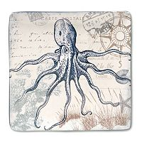Certified International Coastal Postcards 12.25-in. Square Serving Platter