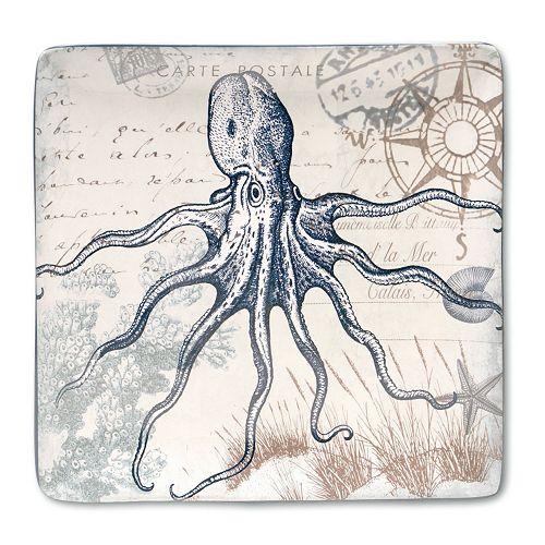 Certified International Coastal Postcards 12.25-in. Square Serving Platter