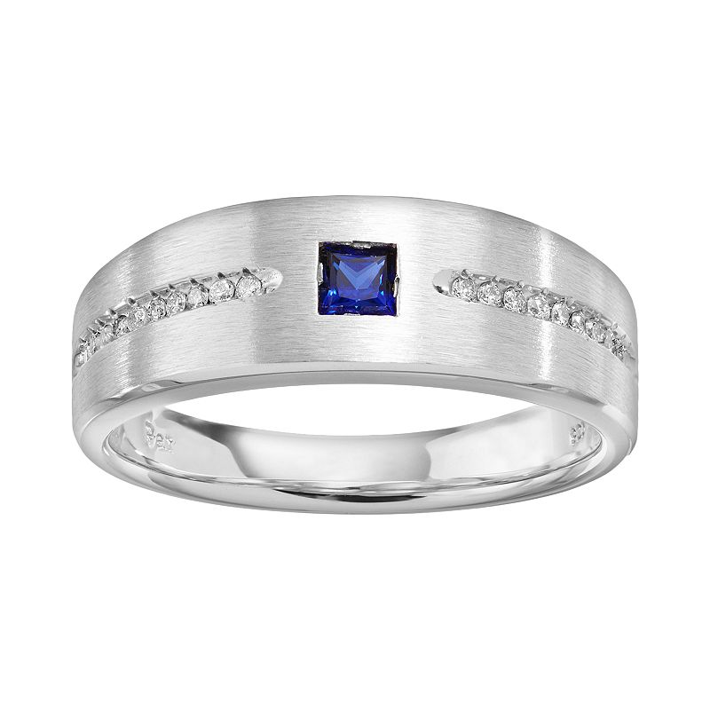 Lab-Created Sapphire and 1/10 Carat T.W. Diamond Sterling Silver Wedding Ring - Men, Blue