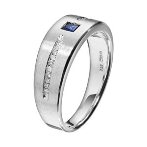 Lab-Created Sapphire and 1/10 Carat T.W. Diamond Sterling Silver Wedding Ring - Men
