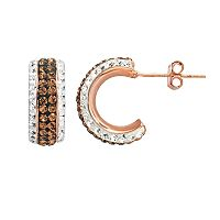 Crystal 14k Rose Gold Over Silver-Plated Semi-Hoop Earrings