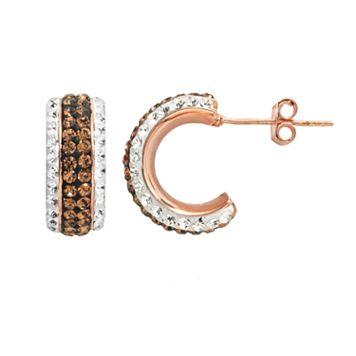Crystal 14k Rose Gold Over Silver-Plated Semi-Hoop Earrings