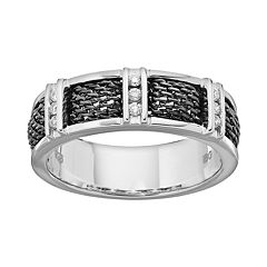 1/6 Carat T.W. Diamond Sterling Silver Mesh Band - Men