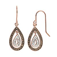 Crystal 14k Rose Gold Over Silver-Plated Teardrop Earrings