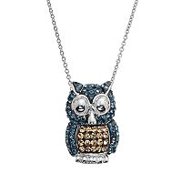 Crystal Silver-Plated Owl Pendant Necklace