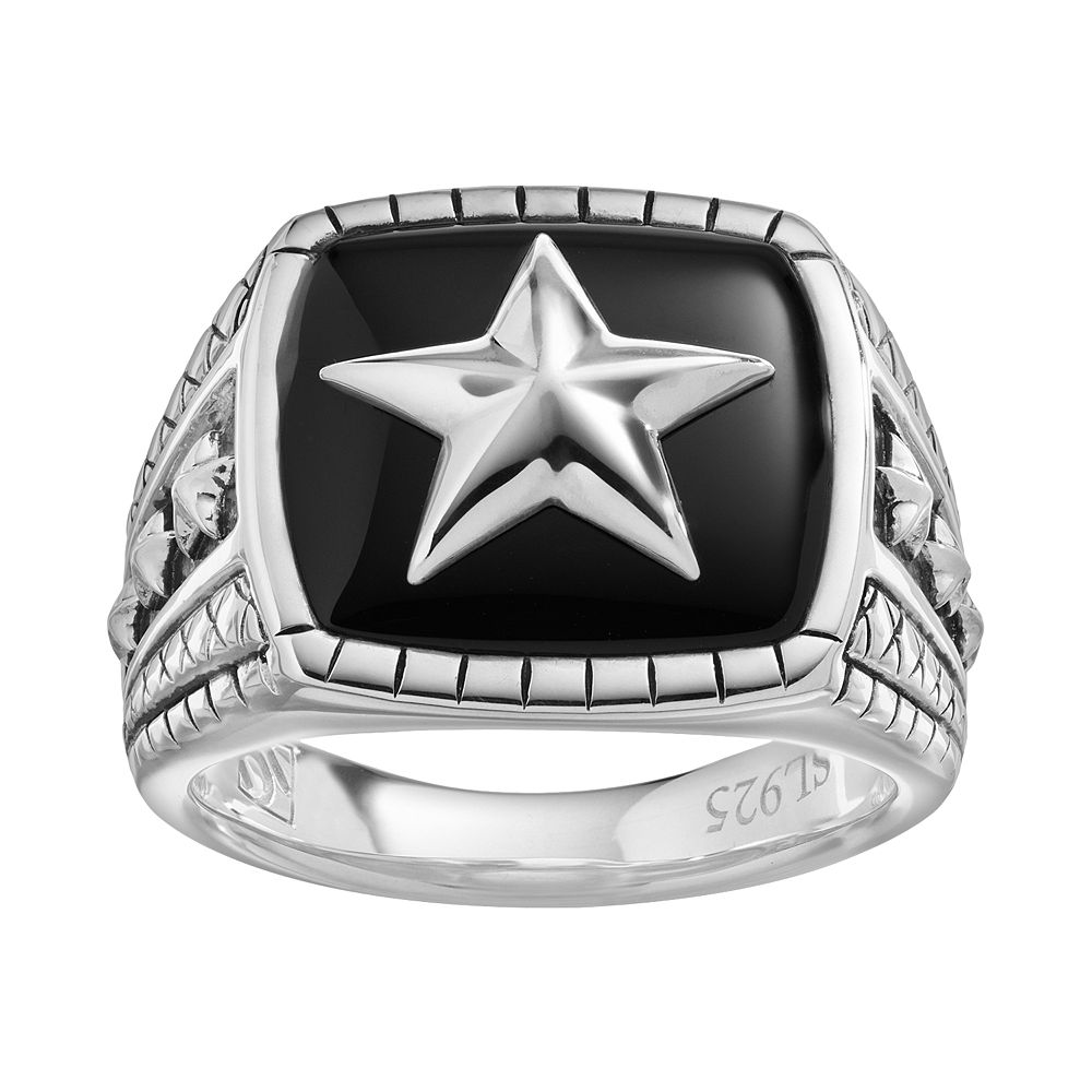 Onyx Sterling Silver Star Ring - Men