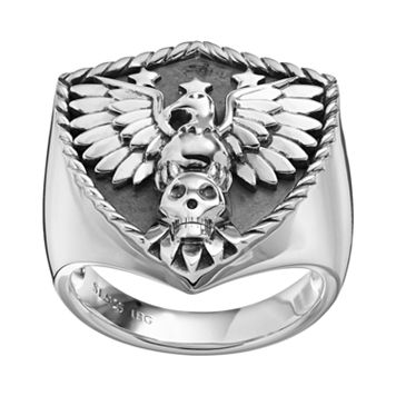 Sterling Silver Eagle & Skull Shield Ring - Men