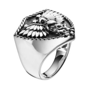 Sterling Silver Eagle and Skull Shield Ring - Men