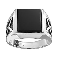 Onyx Sterling Silver Ring - Men